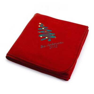 Holiday Tree Red Fleece Blanket - Holiday Decor