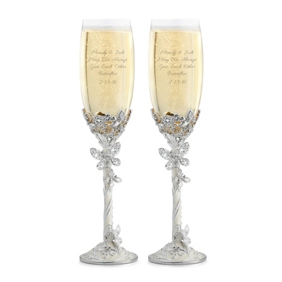 Butterfly Toasting Flutes - Romantic Wedding