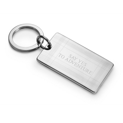 Engraved Silver Keychain Men