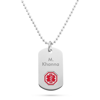 Medical Alert Dog Tag with complimentary Tri Tone Valet Box - Men's Jewelry