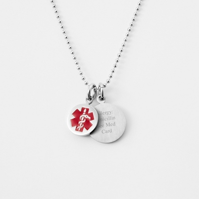 Round Medical Alert Necklace with complimentary Round Keepsake Box
