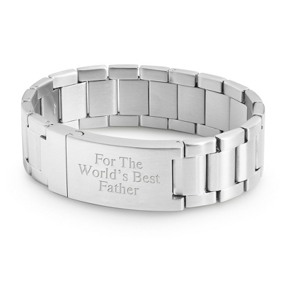 Stainless Steel Watch Band Style ID Bracelet with complimentary Tri Tone Valet Box - UPC 825008318687