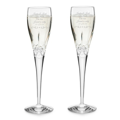 Engraved Crystal Toasting Flutes