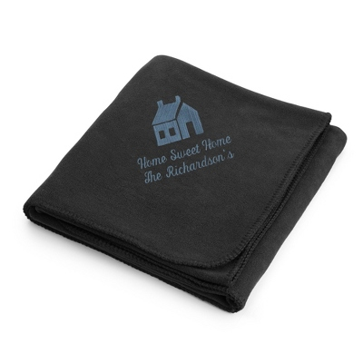 Slate House on Black Fleece Blanket
