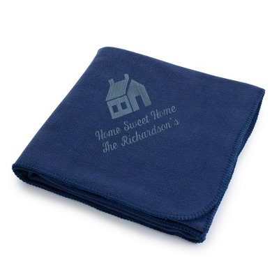 Slate House on Navy Fleece Blanket - $25.99