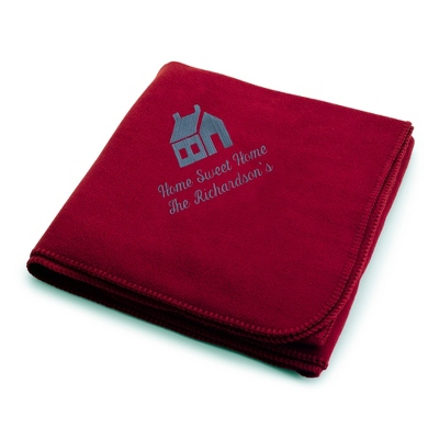Slate House on Burgundy Fleece Blanket