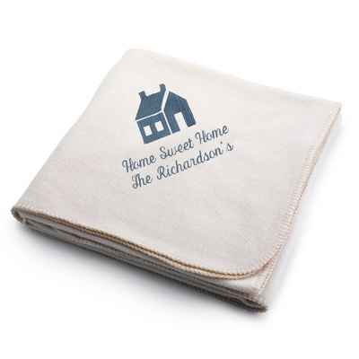 Slate House on Winter White Fleece Blanket