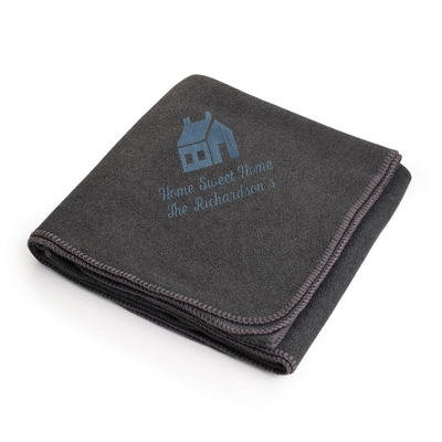 Slate House on Charcoal Fleece Blanket