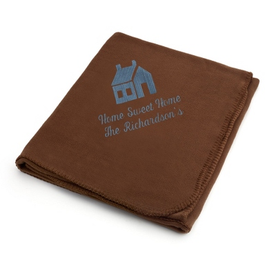 Slate House on Brown Fleece Blanket