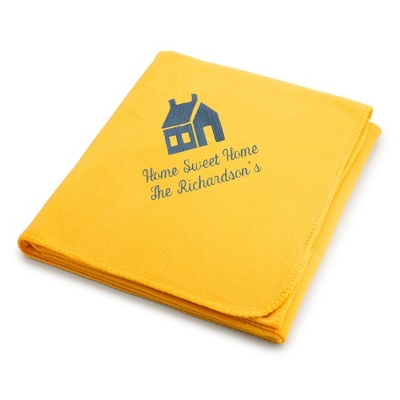 Slate House on Bright Yellow Fleece Blanket