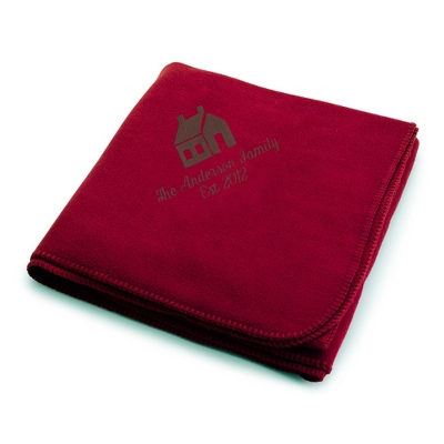Brown House on Burgundy Fleece Blanket - Throws for Her