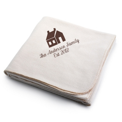 Brown House on Winter White Fleece Blanket