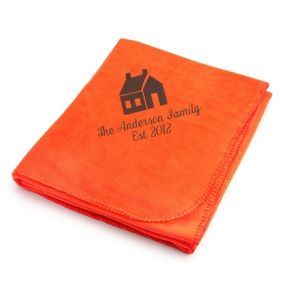 Brown House on Bright Orange Fleece Blanket