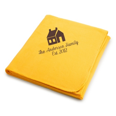 Brown House on Bright Yellow Fleece Blanket - Throws for Her