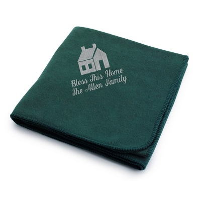 Light Carbon House on Forest Fleece Blanket