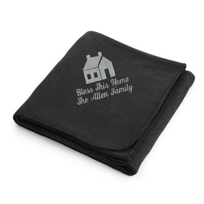 Light Carbon House on Black Fleece Blanket