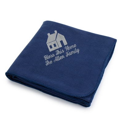 Light Carbon House on Navy Fleece Blanket - Throws for Her