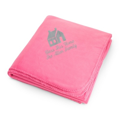 Light Carbon House on Pink Fleece Blanket
