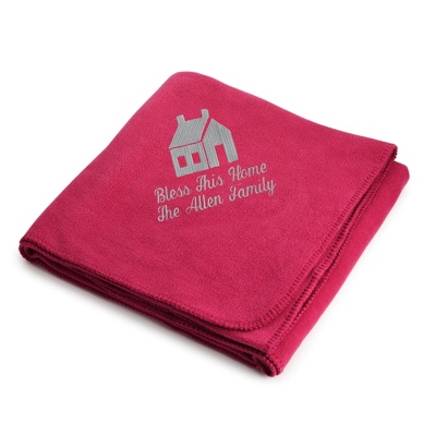 Light Carbon House on Bright Pink Fleece Blanket - $25.99