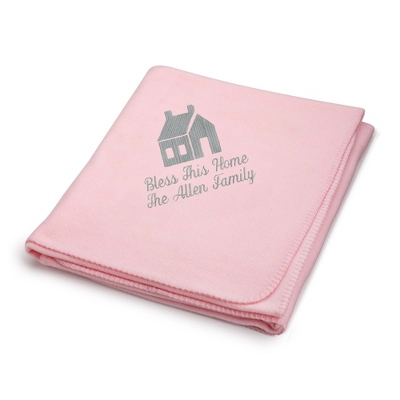 Light Carbon House on Light Pink Fleece Blanket - $25.99