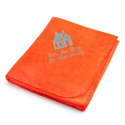 Light Carbon House on Bright Orange Fleece Blanket - $25.99