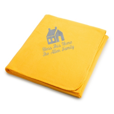 Light Carbon House on Bright Yellow Fleece Blanket - $25.99