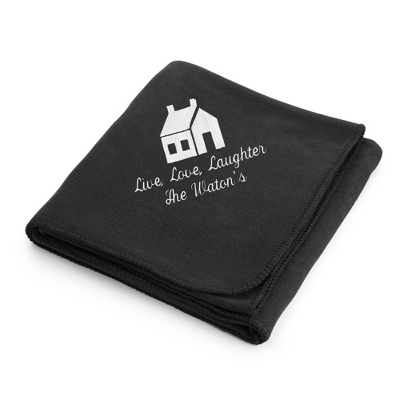 White House on Black Fleece Blanket