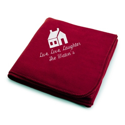 White House on Burgundy Fleece Blanket