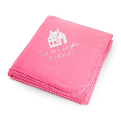 White House on Pink Fleece Blanket - $25.99