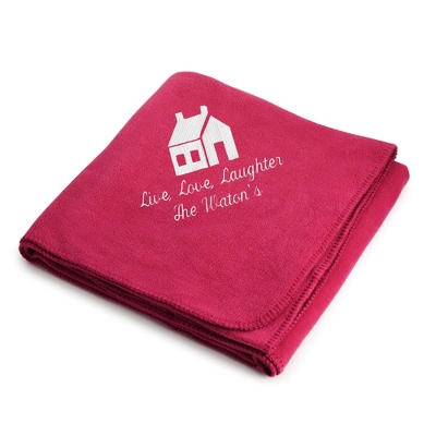 White House on Bright Pink Fleece Blanket