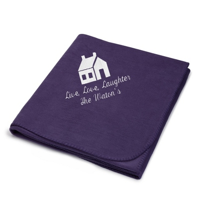White House on Purple Fleece Blanket