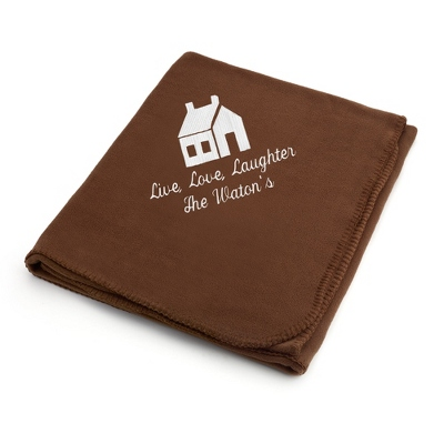 White House on Brown Fleece Blanket