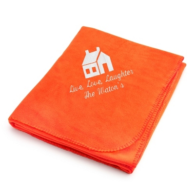 White House on Bright Orange Fleece Blanket