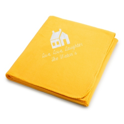 White House on Bright Yellow Fleece Blanket