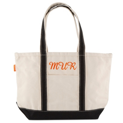 Embroidered Black Canvas Boat Totes