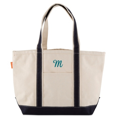 Medium Navy Canvas Boat Tote
