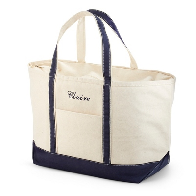 Large Navy Canvas Boat Tote
