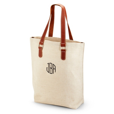 Personalized Leather Canvas Tote