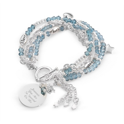 "Blue ""I Wish You"" Bracelet with complimentary Filigree Keepsake Box - Fashion Bracelets & Bangles"