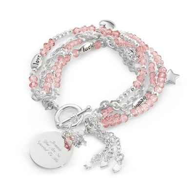 "Pink ""I Wish You"" Bracelet with complimentary Filigree Keepsake Box - UPC 825008321045"