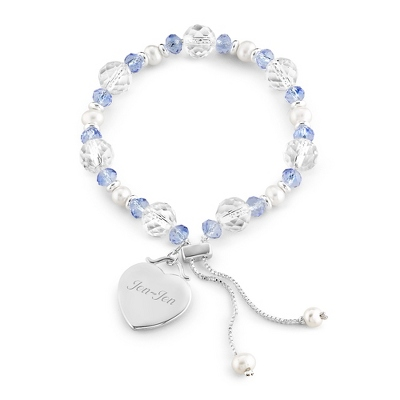 Blue Lariat Bracelet with complimentary Filigree Keepsake Box - Bridesmaid Jewelry