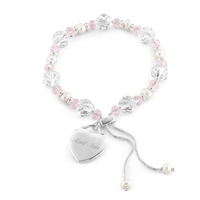 Pink Lariat Bracelet with complimentary Filigree Keepsake Box - Bridesmaid Jewelry