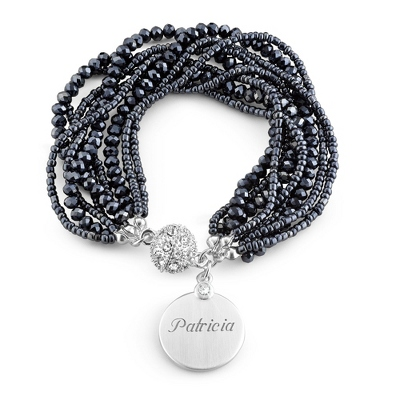 Blue Bead Multi Strand Bracelet with complimentary Filigree Keepsake Box - Fashion Bracelets & Bangles