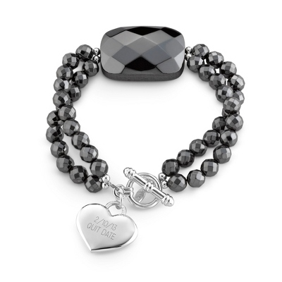 Hematite Large Stone Faceted Bracelet with complimentary Filigree Keepsake Box