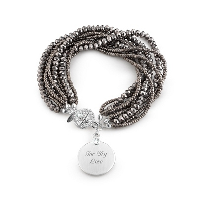 Grey Bead Multi Strand Bracelet with complimentary Filigree Keepsake Box - UPC 825008321205