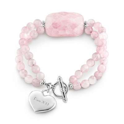 Rose Quartz Large Stone Faceted Bracelet with complimentary Filigree Keepsake Box