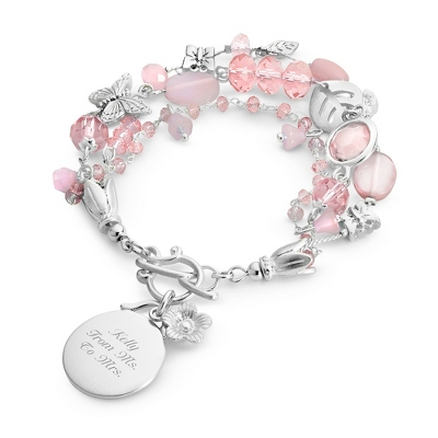 Butterfly & Bead Pink Bracelet with complimentary Filigree Keepsake Box - $14.99