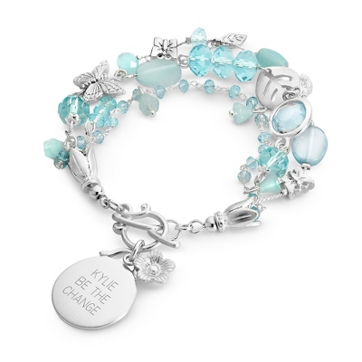 Butterfly & Bead Blue Bracelet with complimentary Filigree Keepsake Box - $14.99