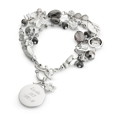 Butterfly & Bead Grey Bracelet with complimentary Filigree Keepsake Box - $14.99