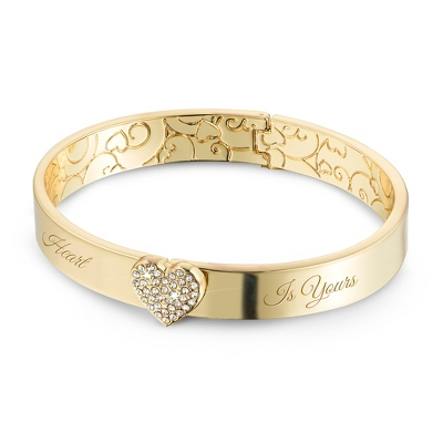 Gold Button Heart Bangle with complimentary Filigree Keepsake Box - Fashion Bracelets & Bangles